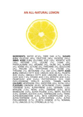 ingredients of a Lemon ENGLISH