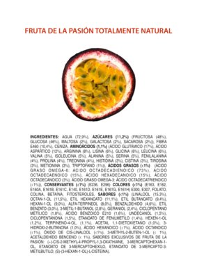 Ingredients of an All Natural Passionfruit SPANISH